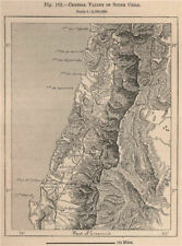 Central valley of South Chile. Chile 1885 old antique vintage map plan chart