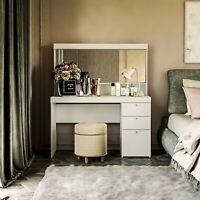 Dressing Table With Mirror White 2 Drawers 1 Cabinet. Vanity Table