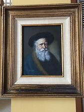 VINTAGE ORIGINAL OIL PAINTING WOOD PANEL OF THE OLD MAN , SIGNED J FULLER