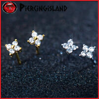925 STERLING SILVER GOLD GF mini Diamond Clover Flower STUD SOLID EARRINGS GIFT