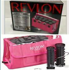 Revlon Curls-to-Go 10 Piece Travel Hot Rollers Ionic Technology No Frizz ~ NEW