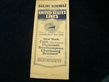 Vintage 1926 United States Lines SAILING SCHEDULE Timetable Brochure No.41  R610