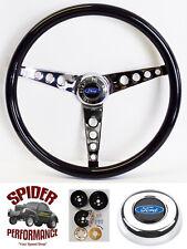 "65-69 Galaxie 500 Fairlane LTD steering wheel BLUE OVAL 15"" GLOSSY GRIP"