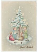 1960 Christmas Snow Spruce Candles Choir Angels Music Harp Card Greeting Vintage