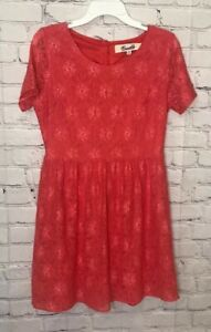 Emmelee Dress Size Coral Floral Lace Short Sleeves Cutout Back Buttons Size L