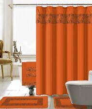 18 Piece Lilian Embroidery Banded Shower Curtain Bath Set (Orange)