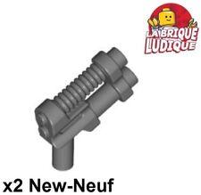 Lego - 2x minifig arme weapon gun pistol pistolet barrel gris foncé 95199 NEUF