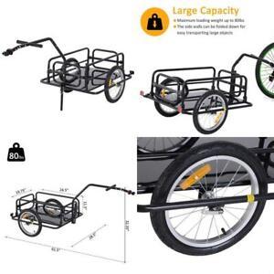 Aosom Folding Bike Cargo Trailer Cart with Seat Post Hitch- Black  Folding desig