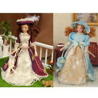 2pcs 1/12 Scale Dollhouse Miniature Porcelain Doll Retro Victorian Lady Woman