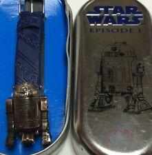 Star Wars R2 D2 Die Cast watch,new battery,runs, original tin,nice          C779