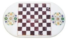 3'x2' Marble Dining Chess Table Top Rare Marquetry Mosaic Inlay Home Decor H2477