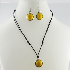2pce Resin Cabochon Tennis Ball Necklace and Earring Set Sports Gift