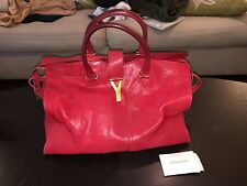 YSL red leather tote bag with gold hardware