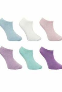 6 Pairs Ladies Women's Pastel Summer Cotton Trainer Liner Ankle Socks UK 4-8