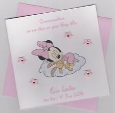 Personalised Handmade Baby Minnie Mouse New Baby Girl Card