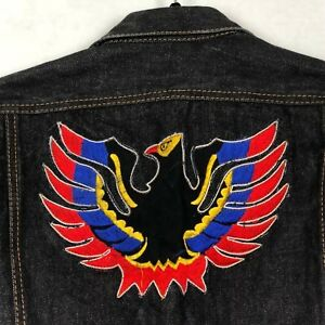 Vintage Denim Jacket Men's S M Embroidered Bird Patches Jean Levis? Black