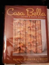 "CASA BELLA FABRIC SHOWER CURTAIN~DAY OF THE HORNS~LONGHORNS~NEW~72"" X 72""~DECOR"