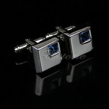 Silver Cufflinks Mens Wedding Party Gift Shirt Blue Square Crystal Cuff Links