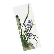 DIY Orchid Stamped Cross Stitch Kits Pre-printed Without Frame 11CT 20x40cm