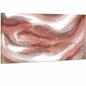 Abstract Pink White Watercolour Brushstrokes Canvas Wall Art Picture