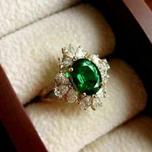 3.00Ct Oval Cut Green Emerald & Diamond Engagement  Ring 14K Yellow Gold Finish