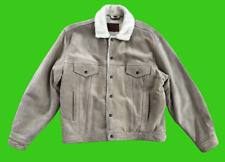 VINTAGE LEVI'S Leather Suede Trucker Jacket Type 3 Sherpa Lined Size XL