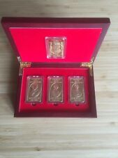 NED KELLY & GANG UNIQUE BOXED SET OF 4 / GOLD INGOTS - FINISHED IN 24K GOLD  -