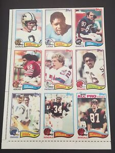 1982 Topps Football Uncut Sheet ARCHIE MANNING CHARLIE JOINER COOPER McINALLY