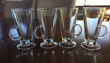Set of 4 Footed 6 oz. Clear Glass Irish Coffee Mugs Iced Coffee/Tea Cups Glasses