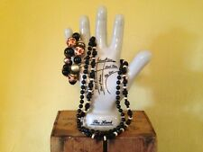Vintage retro 50's look black wooden leopard print beaded necklace bracelet set