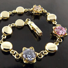 FSA577 GENUINE REAL 18K YELLOW GF GOLD AMETHYST SAPPHIRE CITRINE BRACELET BANGLE