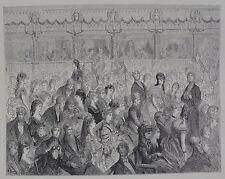 """Doré-Londres; """"los puestos, Covent Garden Opera' , antiguo grabado en madera, C.1870"""