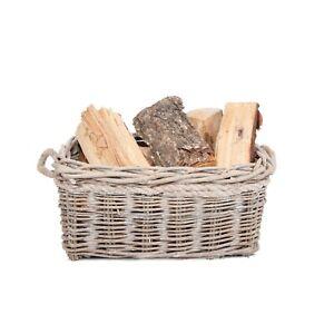 Wickerfield Rustic Wicker Log Basket Storage Heavy Duty Firewood Fireplace