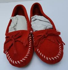 New Womens Minnetanka Red Kilty Stitch Christmas Moccasin Loafers Shoes 8.5