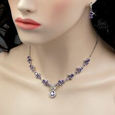 White Gold Amethyst Purple Zirconia CZ Necklace Earrings Wedding Jewelry Set 632