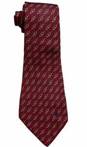 """Gucci Vintage Men's 100% Silk Red Striped Chainlink Monogram Logo Tie Italy 4"""""""