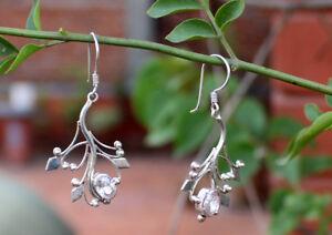 Leaf Design Silver Sterling Tibetan Earrings