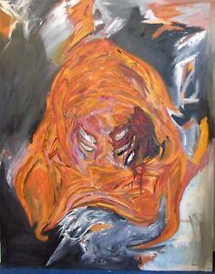 """Gemeinschaftswerk J.Jahn & Bullinger """"Komposition mit orangenen Formen II"""" Öl"""