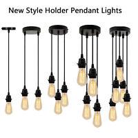 E27 DIY Ceiling Rose Light PVC Flex Cluster Pendant Lamp Holder Suspension Set