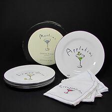 "Pottery Barn Martini 7-3/4"" Cocktail Plate & Cotton Napkin Set 4 Each Cosmo"