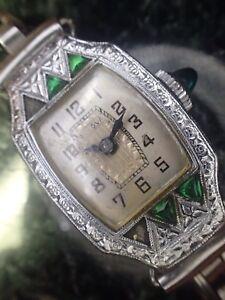 1920's Bulova Miss Liberty Woman's Watch Green Stoned 4 Service#70