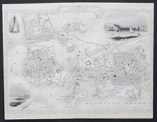 c1854 PLYMOUTH DEVON STREET PLAN Genuine Antique Map by Rapkin FREE SHIPPING