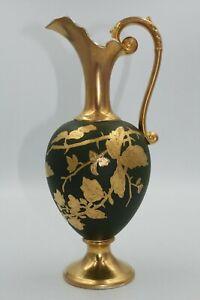 Antique Hand Painted Gilded Porcelain Ewer, Dark green ground, floral decoration