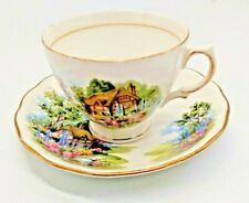 Vintage Royal Vale Bone China Tea Cup and Saucer - Country Cottage scene