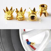 4Pcs Universal Gold Crown Car Truck Tire Air Valve Stem Cover Cap Wheel Rim BS