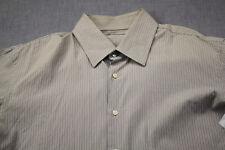 HUGO BOSS Enzo X Mens Brown & White Striped Dress Shirt NWT 17.5 34/35  $165
