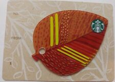 HTF Starbucks 2015 Orange Mini Leaf Gift Card, Mini Keychain                (C)