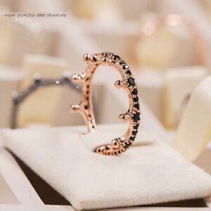 Original S925 Sterling Silver Black Enchanted Crown Ring in Rose Sparkling CZ 🕊