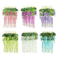 12Pcs Simulation Wisteria Flower Leaf Vine for Wedding Flower Decoration Home