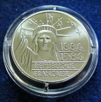 1986 FRANCE - 100 FRANCS - 100 YRS OF STATURE OF LIBERTY - PIEFORT SILVER w/ COA